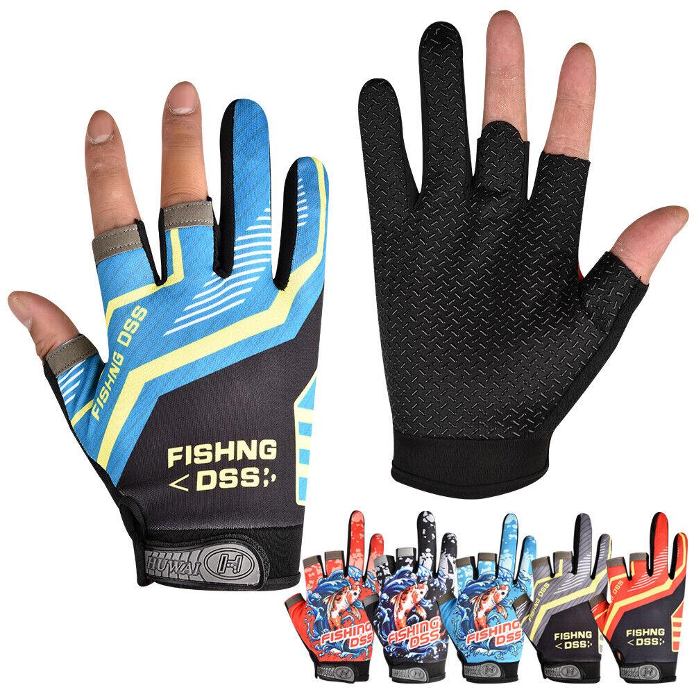 Women Men Fishing Hunting Gloves 3 Fingerless Anti-slip Outdoor Soprt Gloves NEW