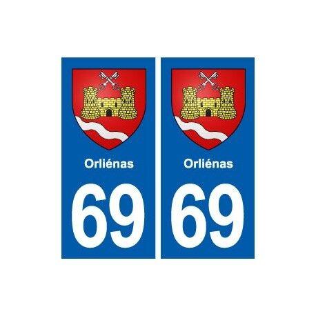 69 Orliénas blason autocollant plaque stickers ville -  Angles : droits