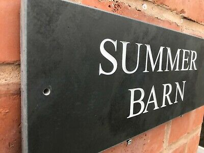 QUALITY LARGE SLATE HOUSE DOOR GATE SIGN 400 X 150mm ANY NAME ANY NUMBER