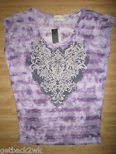 NEW* Miss Me LADIES M T-SHIRT TEE Clubwear SHIRT TOP Purple Stripes