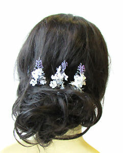 3 X Weiss Lila Lavendel Blumen Haarnadeln Braut Klemme Kunstliches