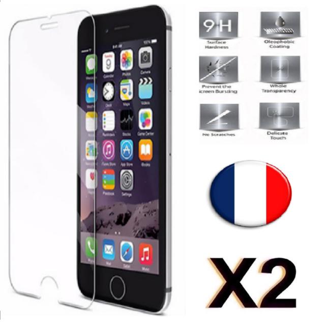 Verre Trempé iPhone 5/5s/5c/se/6/6s/7/plus film vitre Protection écran 2 Pack