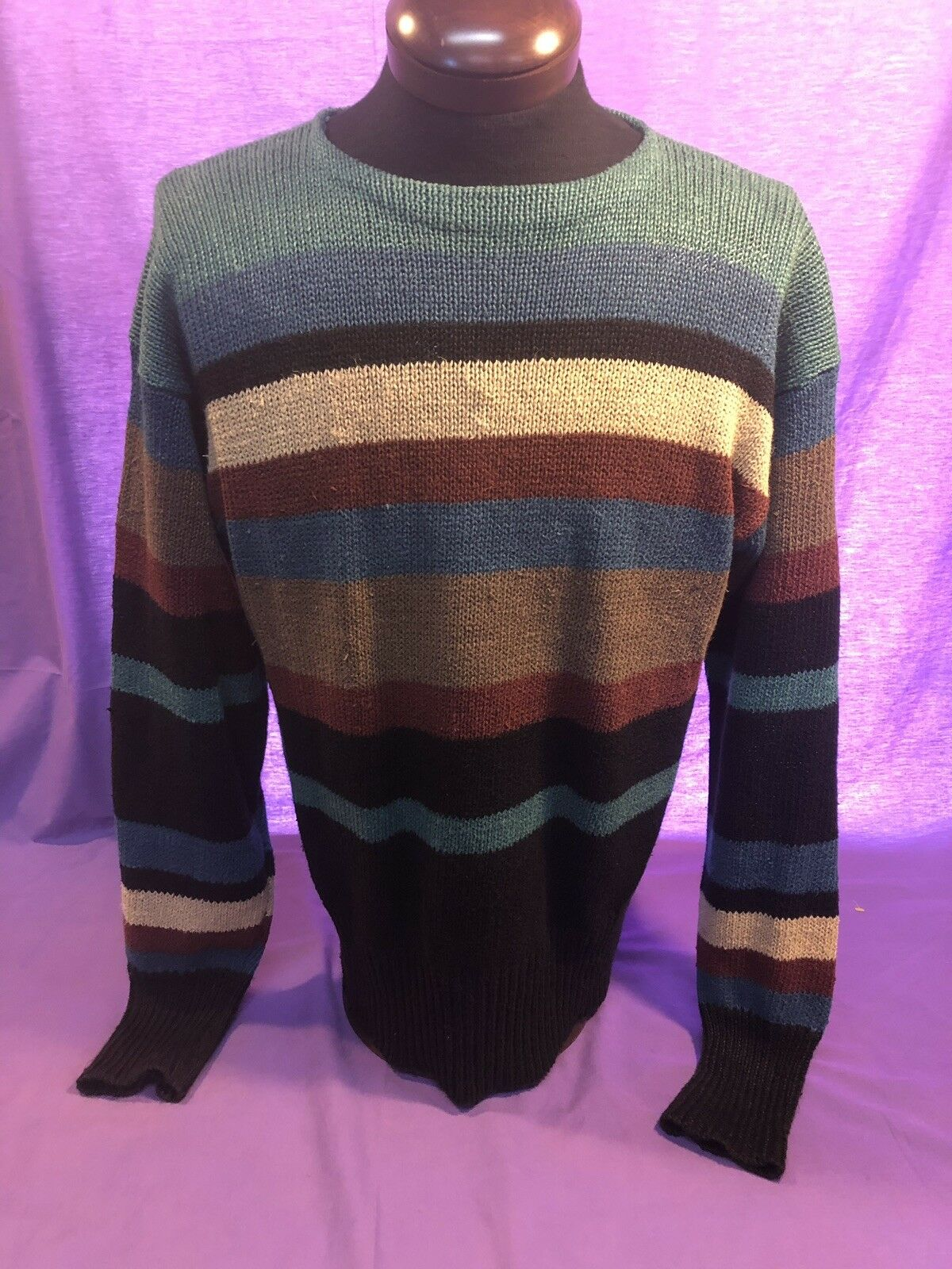 Mens RALPH LAUREN 100% LINEN SWEATER L Large Multi color