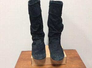 Steve Madden Botas Talla 13m Niñas Negro Gamuza Cremallera De Segunda Mano Ebay