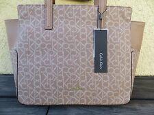 $168 NWT Calvin Klein Nina Mono Tote Bag Purse Handbag Brownie