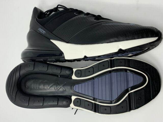 Mens Shoes Nike Air Max 270 Premium Leather Black Sail Metallic Cool Grey Light Carbon AO8283 001 ao8283 001