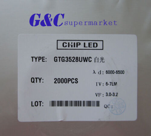 500PCS SMD SMT 3528 Super bright WHITE LED lamp Bulb NEW