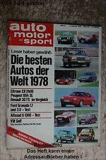AMS Auto Motor Sport 3/78 Citroen CX R30 TS Alfasud ti Toyota Carina