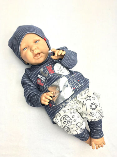 Babyset 3tlg Starterset Jungen Erstlingsset Katze Astronaut Blau Silber 62 68 74