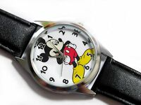 NEW DISNEY MICKEY MOUSE WATCH Stainless Steel LEATHER FILM WATCH MICKY FUN FAN