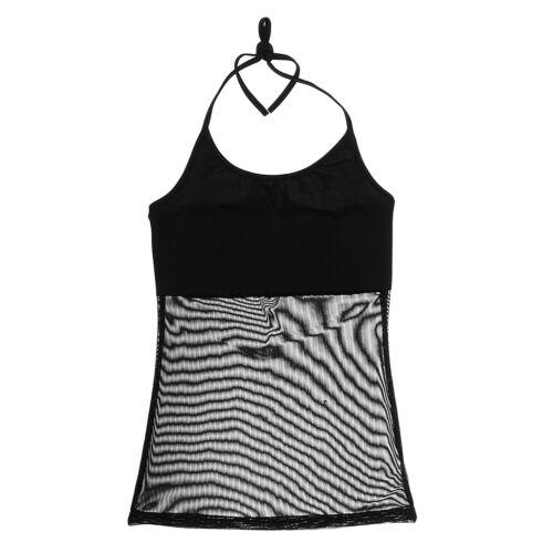 Lady Transparent Vest Top Belly Dance Costume Yoga Halter practice clothing