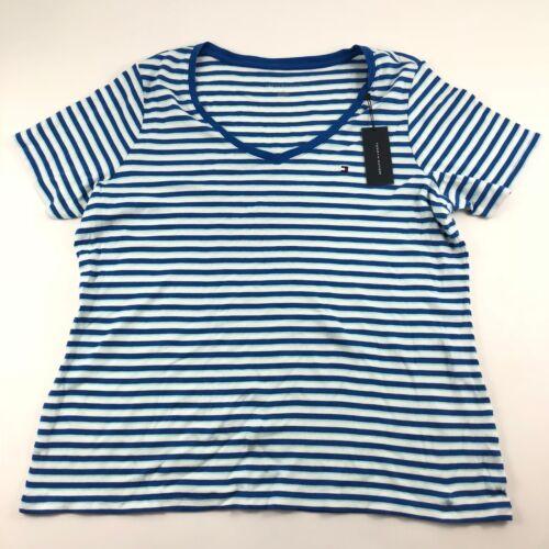Tommy Hilfiger Striped V-neck Short Sleeve Tee Shirt Women/'s Size 1X $25