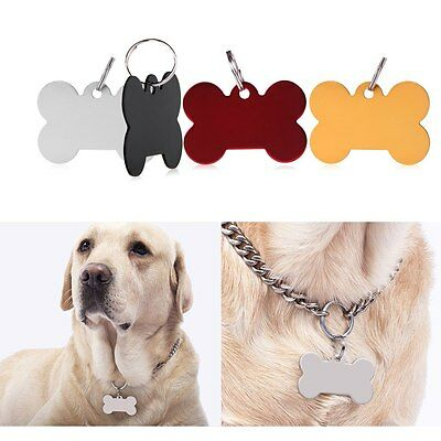 Engravable Custom Personalized Pet ID Tags Dog Cat Animal Name Bone Tag w/ Ring