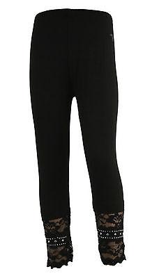 NEU Leggings schwarz mit Spitze Strass Kinderhose Mädchen Hose 98/104 110/116