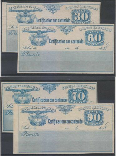 COLOMBIA 1890 INSURED LETTER CUBIERTAS Sc G12, G15-G16 & G18 MINT+ SCV$100.00+