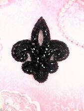 """JB165 Fleur De Lis Black Beaded Applique Motif 3"""" (JB165-bk)"""