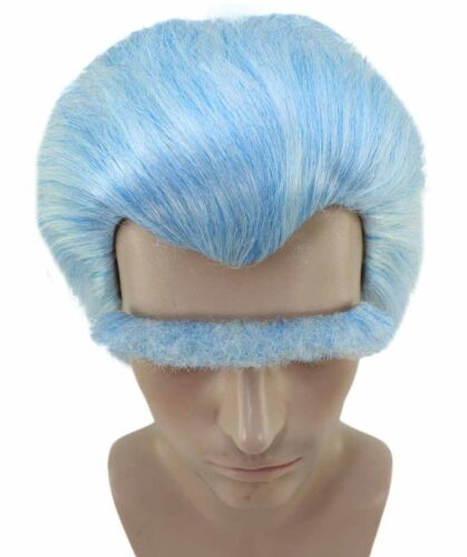 Light Blue Wig and Unibrow Slicked-back Hair for Cosplay Rick Halloween HM-992