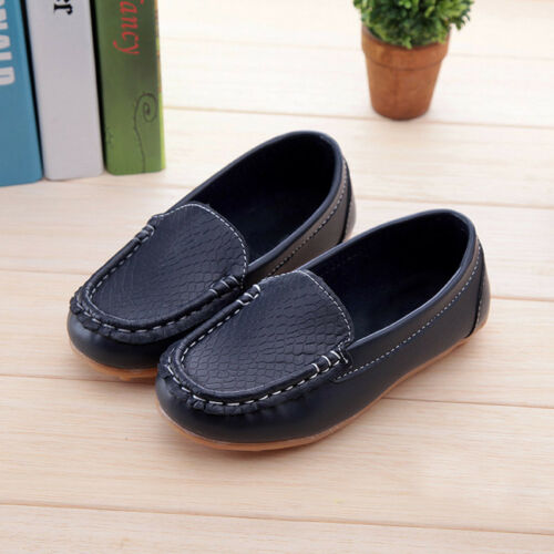 Kids Boys Girls Toddler Casual Slip On PU Leather Flat Loafers Soft Boat Shoes