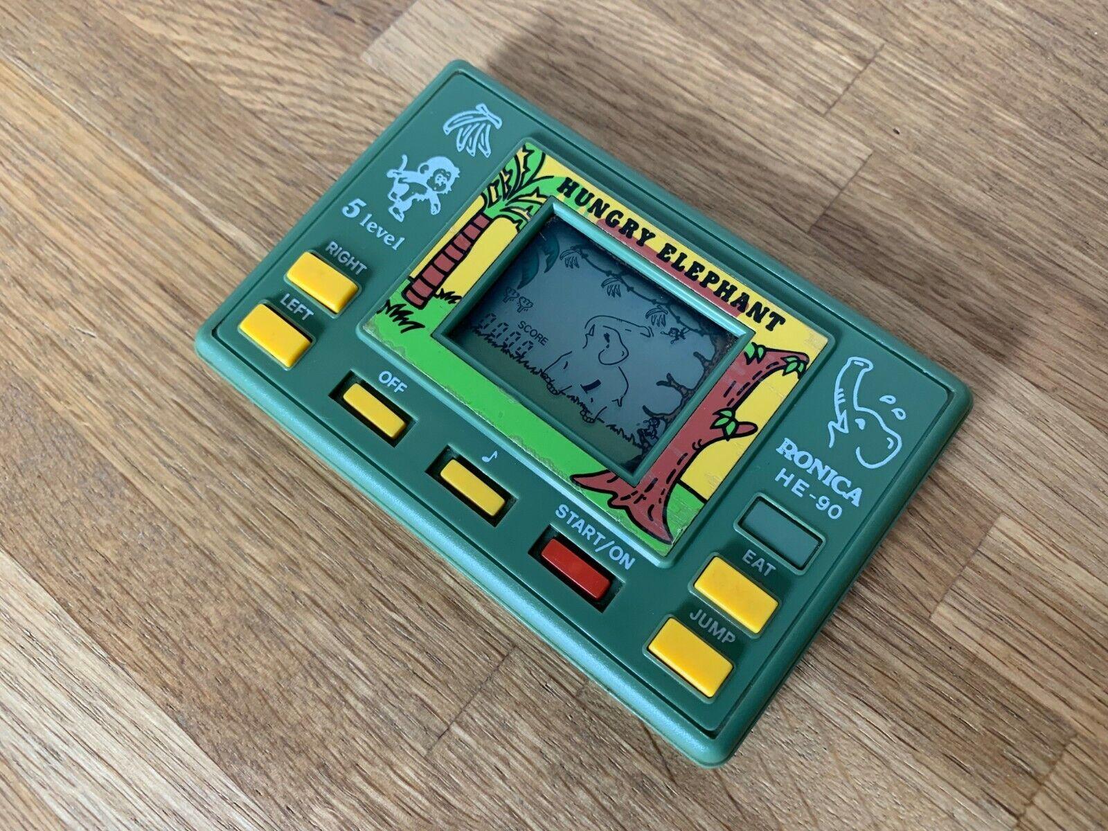 Vintage Rara Ronica hambre Elefante 1990 LCD Portátil Juego Electrónico-Excelente.