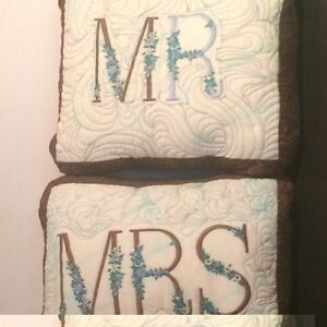 Mrs-amp-Mr-Custom-Made-Embroidered-Quilted-Pillow-20-034-X-16-034-Set-of-2