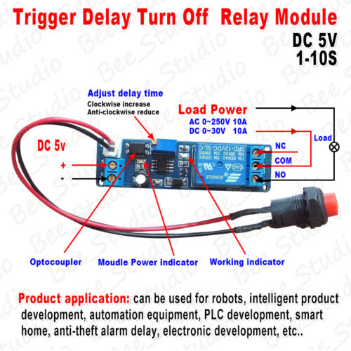 Adjustable Delay Turn OFF Switch Trigger Timer Board Time Relay Module 1~10s