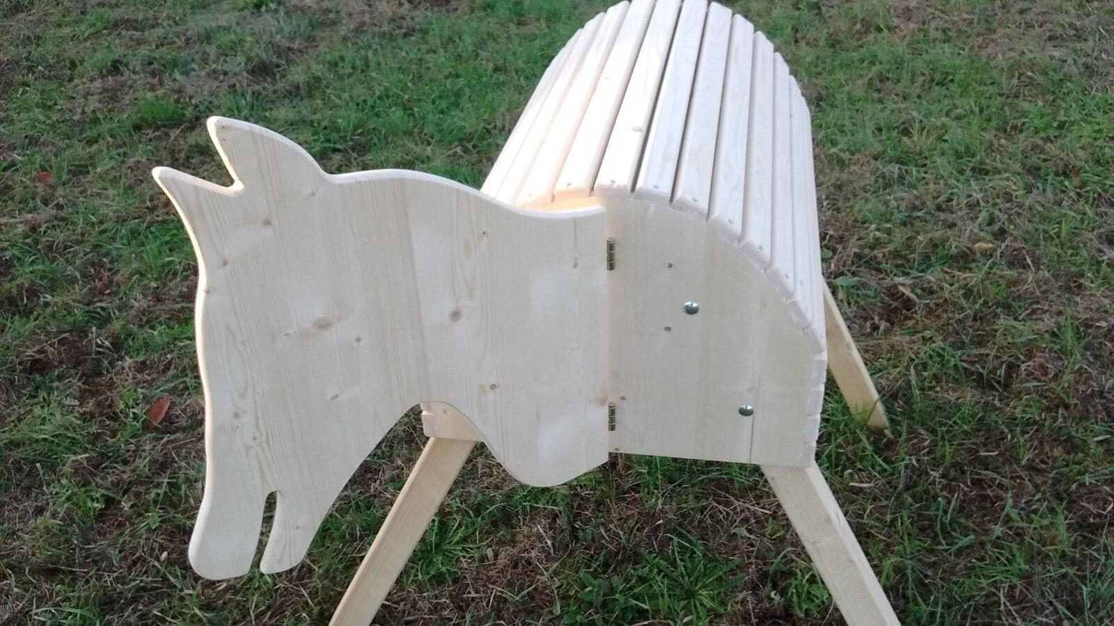 Holzpferd mit beweglichem Kopf Kopf Kopf Kinderspielzeug und als Voltigierpferd geeignet 4f4660