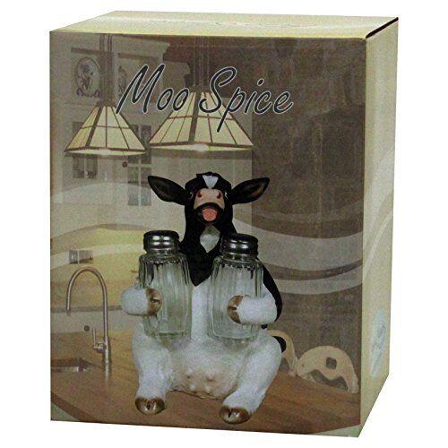 Holstein Cow Glass Salt Pepper Shaker Holder Figurine Country Farm Kitchen Decor