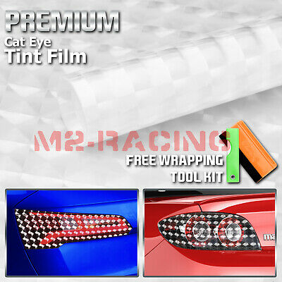 *Cateye Style Clear Transparent Tint Headlight Taillight Fog Light Vinyl Film