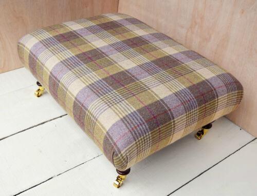 Large Handmade Footstool 100/% Wool Tartan Fabric Choice of legs fabric /& size!