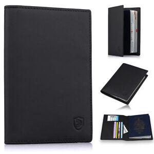 0692e4dc02e1 Details about Men's Slim Leather Passport Holder Cover Case RFID Blocking  Travel Wallet Black