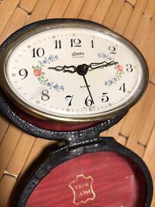 Vintage-Linden-Portable-Travel-Alarm-Clock-Leather-Case-FLORAL-Face-MADE-Germany