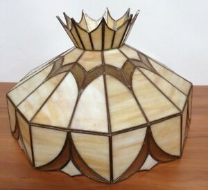 Details About Vintage Tiffany Style Stained Glass Leaded Slag Glass Hanging Light Lamp Shade