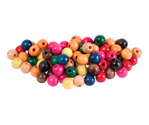 200-X-Coloured-Wooden-Beads-Round-12mm-BULK-Macrame-threading-jewellery