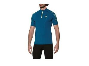 Details about Asics Men's Running Compression T-Shirt, Half-Zip top, Mosaic Blue - Small