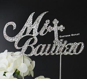 MI-BAUTIZO-ELEGANT-CAKE-TOPPER-RHINESTONE-FANCY-SILVER-CROSS-METAL-BAPTISM