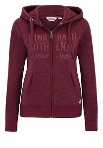 LONSDALE-Amberley-LADIES-HOODED-zipsweat-con-cappuccio-Pullover-Marl-Red-rotmeliert