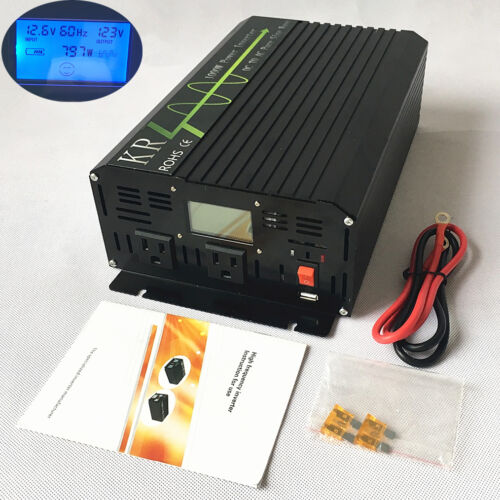 Car Power Inverter 1000 W 12 V à 120 V LCD 60 Hz Sinusoïdale Pure Onduleur USB