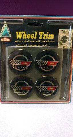 Vintage Corvette Wheel Trim Adhesive Backed Wheelcover Emblem Set of 4 NOS