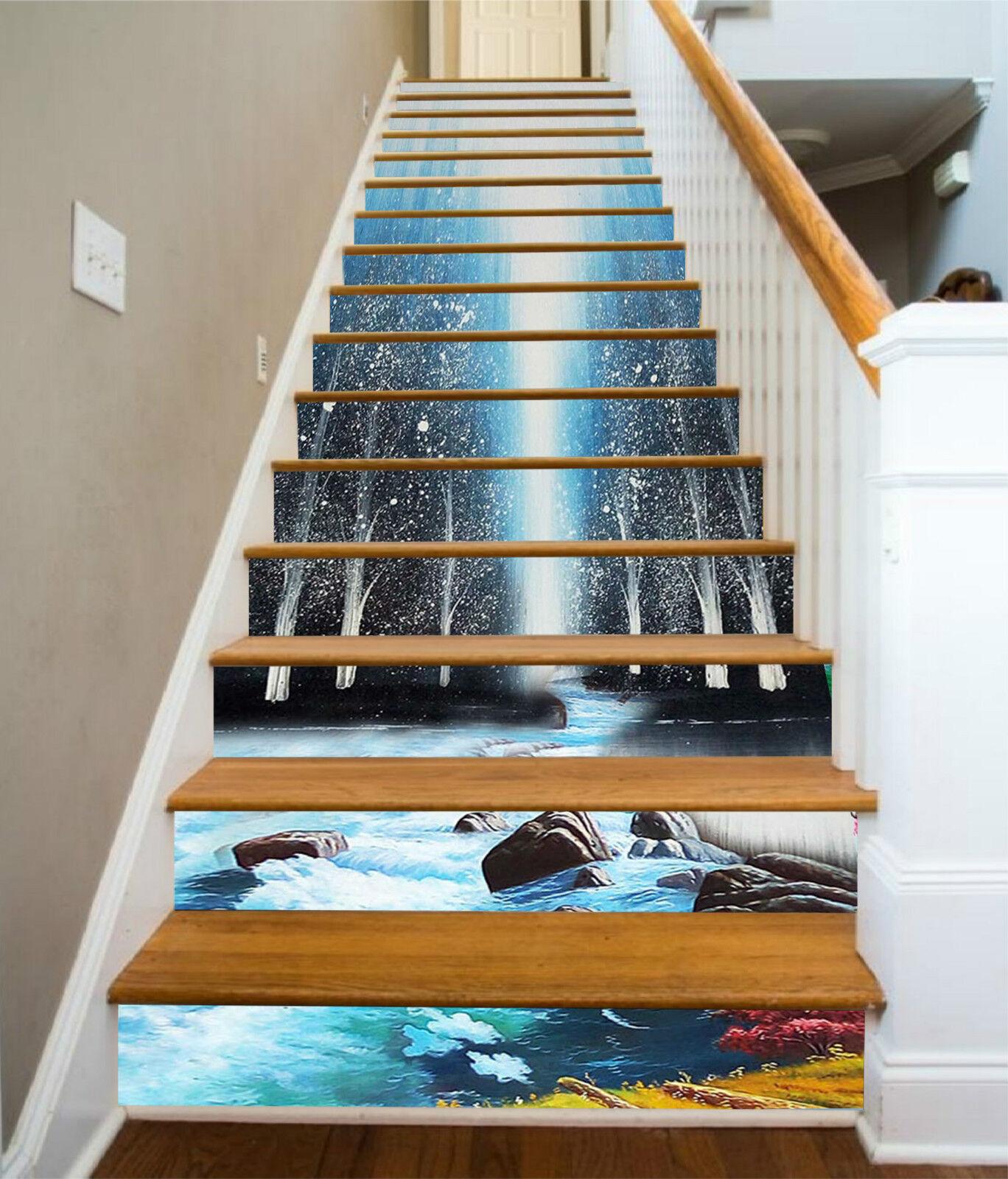 3D Fluss Bume 242 Stair Risers Dekoration Fototapete Vinyl Aufkleber Tapete DE