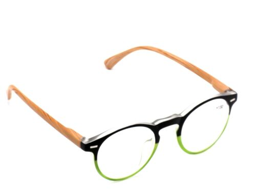 POUCH Women 1.50 Black Green Faux Bamboo Clearance Ladies READING EYE GLASSES