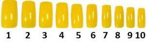 40-clavos-de-tamano-1-10-Amarillo-Acrilico-unas-falsas-extension-completa-de-Belleza-punta-de-dedo