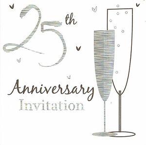 72 x silver wedding anniversary invitations cards 25th party invites