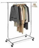 Clothing Racks Single Bar Garment Salesmans Collapsible Clothes Locking Casters