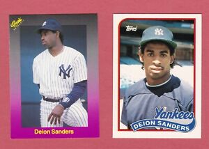 2 DEION SANDERS ROOKIE CARDS 1989 TOPPS #110 TRADED +CLASSIC#200 YANKEES RC LOT