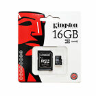 GENUINE 16GB CLASS 10 KINGSTON MICRO SDHC MEMORY CARD WITH SD ADAPTER HC UHS 1