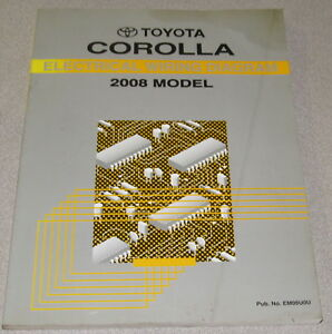 2008 toyota corolla electrical wiring diagram service manual ebay