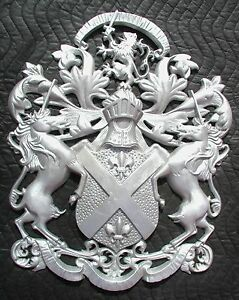 "Scottish Rampant Unicorn with Lion, Driveway Gate Crest,Cast Aluminum,23""x 19"""