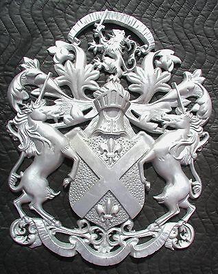 "Cast Aluminum,14/""x 32/"" Rampant Britannic Fighting Lions Driveway Gate Crests"