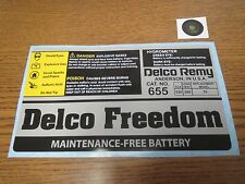 Delco Freedom 655 Battery Decal Set. Mid 80s through 90s  AC Delco Remy replica