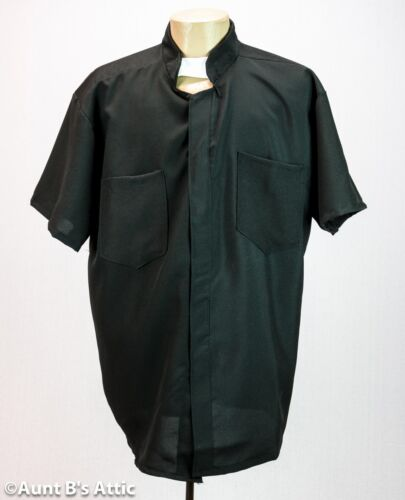 Priest Shirt Black Short Sleeve Poly Pocketed Costume Shirt W// White Tab Collar